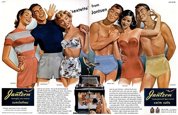 Jantzen fürdőruha reklámok az ötvenes évekből - retro, illusztracio, furdoruha-2 -