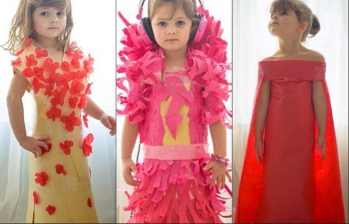 Papírruhákkal csinál divatot a négy éves kislány - jelmez-otletek, ujdonsagok -