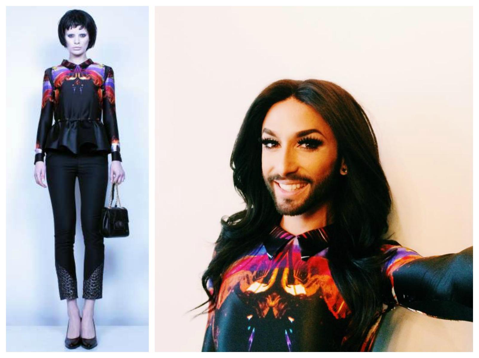 Conchita Wurst Dora Abodi felsőben szelfizget - sztarok-magyar-tervezok-ruhaiban, jelmezeksztarok, minden-mas -