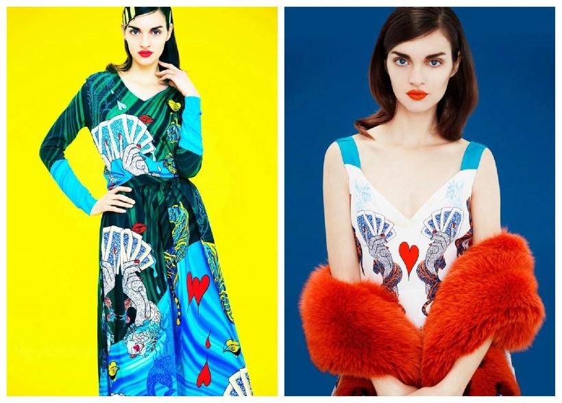 Mary Katrantzou türkíz mintás ruha divat