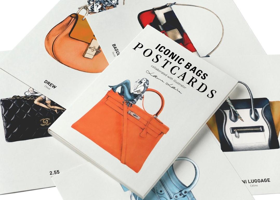Ikonikus táskák képeslap sorozaton - illusztracio, ujdonsagok, artdesign -