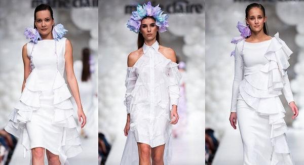 Bráz Noémi Zewa papírzsebkendő ruha Marie Claire fashion Days fotó: Máthé Krisztián